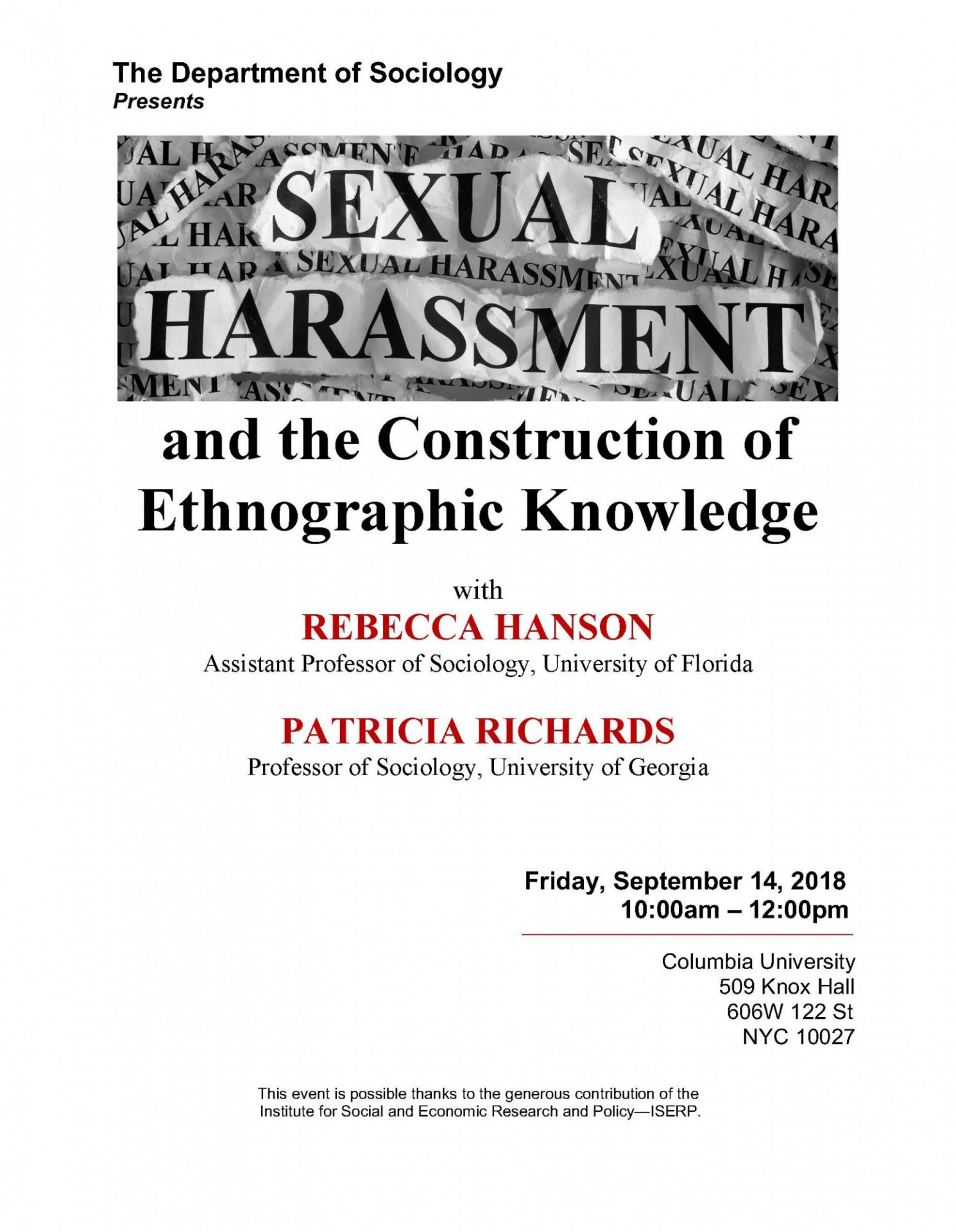 Sexual Harassment; danger; embodiment; ethnography; fieldwork; ideological forms