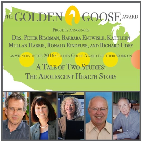 2016 Golden Goose Award Poster with images of all 5 recipients. From left:Peter Bearman, Barbara Entwisle, Kathleen Mullan Harris, Ronald Rindfuss, and Richard Udry