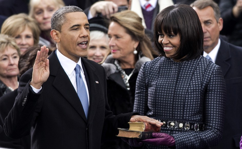 President Barack Obama and First Lady Michelle Obama at his second inauguration, January 21, 2013.